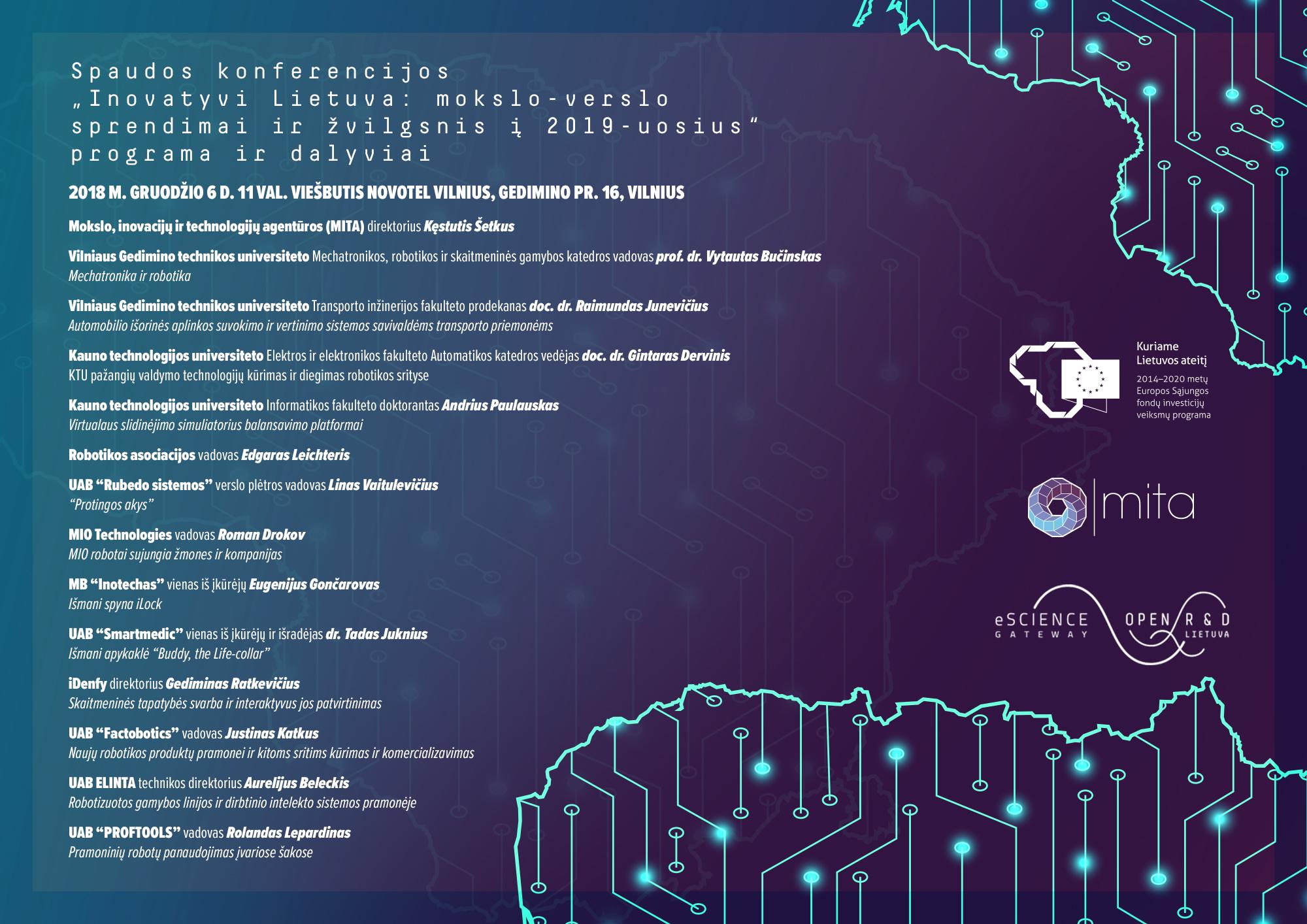 """Naujausi Lietuvos pasiekimai robotikos srityje – spaudos konferencijoje """"Inovatyvi Lietuva: mokslo-verslo sprendimai ir žvilgsnis į 2019-uosius"""""""