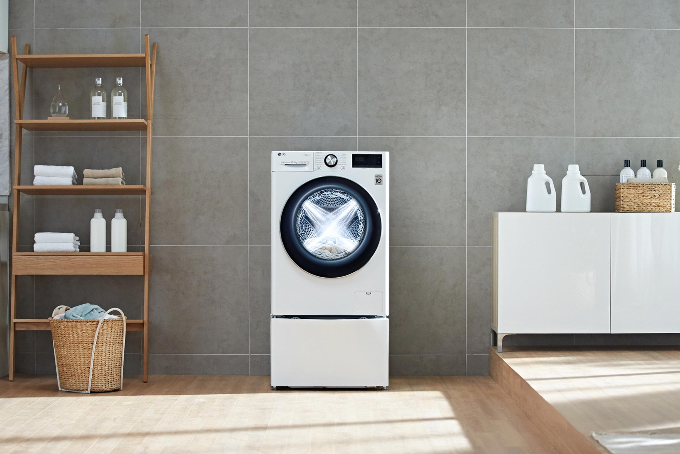 Visame regione pristatomos LG skalbimo mašinos su dirbtiniu intelektu ir tiesioginės pavaros varikliu